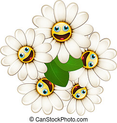 Bouquet of flowers with smiling daisies isolated on white...