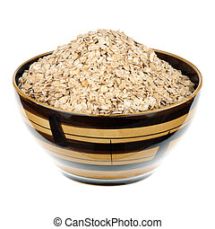Rolled oats in a ceramic plate over white background