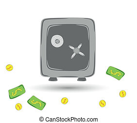 gray safe for protection of your valuables with coins and paper money
