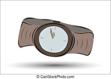 brown clock watch with brown leather strap showing five minutes before twelve