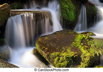 Smoky Mountains Cascade - Water falls over a jumble of...