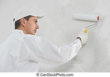 casa, pintor, trabajo