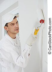 house painter at work - One male house painter worker...