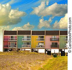 Texas. Colorful homes near the sea