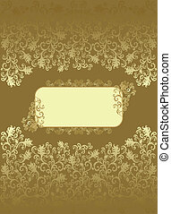Vintage rectangular frame with ocher color decor and floral...