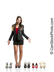 Shoes addict - Beautiful and attractive woman with a shoes...