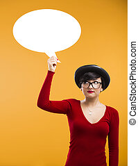 Girl holding a thought ballon - Beautiful girl holding a...