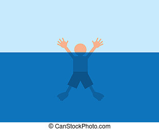 Drowning Water - Person helplessly drowning in water