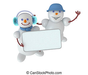 Two cute snowmans that keep blank sign to put your word or...