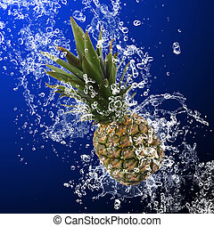 Pineapple with water splashes