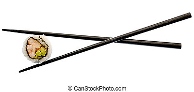 sushi and black chopsticks isolated on white - Super clean...
