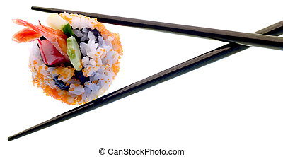 Sushi and chopsticks isolated on white Super clean white...