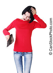 婦女, 她, 皮夾子, 年輕, 空, 顯示