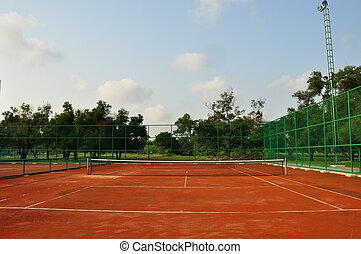 old tennis court