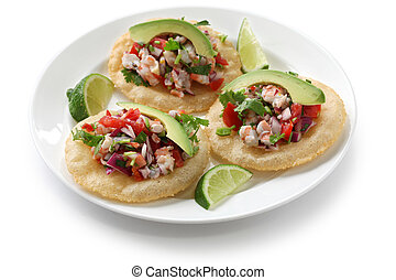 tostadas de ceviche, mexican food - ceviche(raw fish...