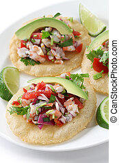 tostadas de ceviche, mexican food - cevicheraw fish...