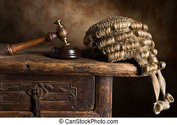Court wig and hammer - Judges court wig and hammer or gavel
