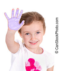 A child with purple paint on her hand