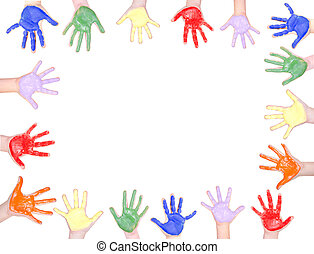 Painted hands for a frame - Childrens hands painted in...