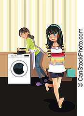 Mother daughter doing laundry