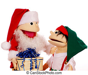 Christmas Appreciation - A Santa puppet giving one of his...