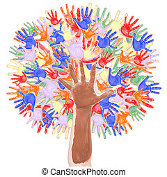 Tree made of childrens hands - Tree in rainbow colors made...