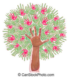 apple tree made of childrens hands isolated on a white...