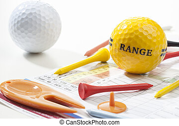 Golf concept - Miscellaneous parts used for playing golf: A...