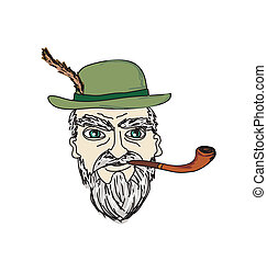 old man smoking pipe