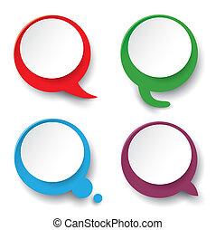 Four Speech Bubble Labels - Four colorful speech bubbles on...