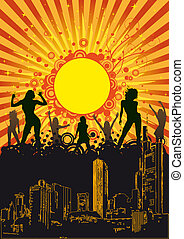 Summer City Party Orange Sun - Design for disco party flyer....
