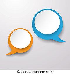 wo Communication Speech Bubble Labe - Two communication...