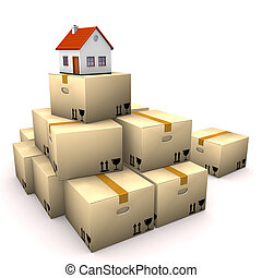 House Moving Boxes - Moving boxes with small house on the...