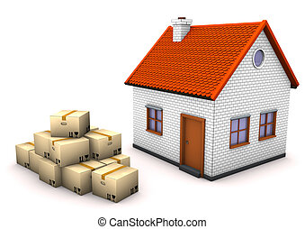 House Moving Boxes - The house with moving boxes on the...