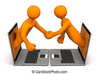 Manikins Laptops Handshake - Orange cartoon characters with...