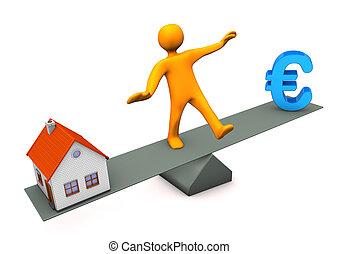 House Euro Balance - Orange cartoon character with house and...