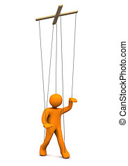 Marionette - Orange marionette on the white background. 3d...