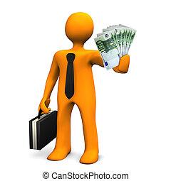 Corruption - Orange businessman allures with money. White...