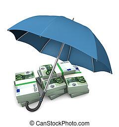 Euro Notes Umbrella - Euro notes with blue umbrella on the...
