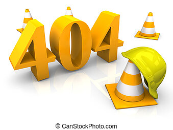 404 Error - Construction site with yellow text 404. 3d...