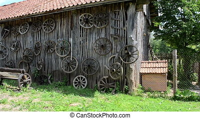 retro carriage wheels - retro carriage cart wheels hang on...