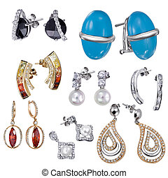 Earrings with zircon and expensive big gemstones - Earrings...