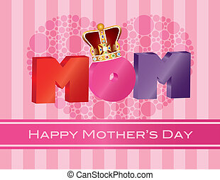 Mothers Day MOM Alphabet with Crown Greeting Card...