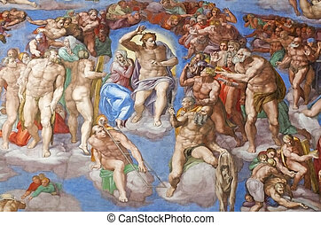 The Last Judgment by Michelangelo in the Sistine Chapel,
