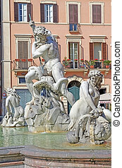 Neptune fountain in Piazza Navona,  in Rome