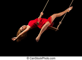 gimnasta, soga, mujer, joven
