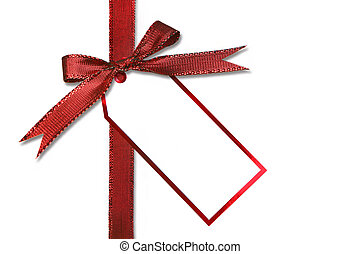 Holiday Gift Tag and Bow - Red Holiday Gift Tag and Bow With...