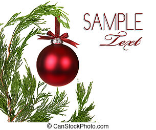 Evergreen Christmas Tree Branches With One Ornament With...
