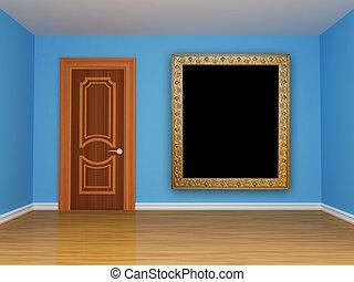 blue empty room with door