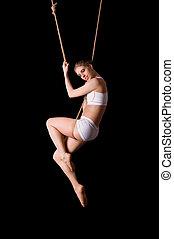 ginasta, corda, mulher, jovem